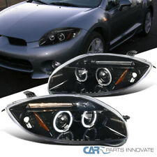 For Mitsubishi 06-11 Eclipse Pearl Black Halo Projector Headlights Head Lamps
