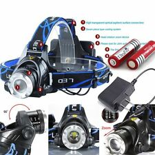 8000LM ZOOM XM-L T6 Zoomable Focus LED Headlight Head Lamp + 2x18650+Charger USA
