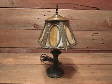 Vintage Antique Cast Iron Ornate Victorian Table Lamp With Glass Shade - Works!