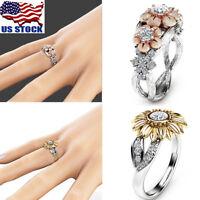 Fashion Womens Sunflower Silver/Rose Gold Plated Zircon Ring Wedding Jewelry USA