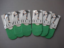 NWT Women's Hue Cotton Sock Liner 6 Pair One Size Midori (Green) #5H
