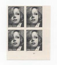 US Scott  #3943   Mint/OG-NH XF  Greta Garbo  2005  37c  Plate Block of 4