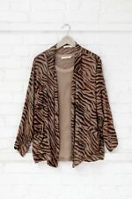 Rabens Saloner On Trend Animal Print Silky Jacket Khaki Med VGC