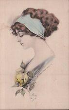 1911 Artist Signed Pretty Lady / Blue Headband Vintage Postcard