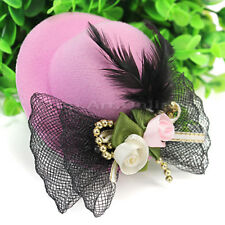 Bow Hair Clip Feather Mini Top Hat Fascinator Birthday Party Fancy Dress Pink