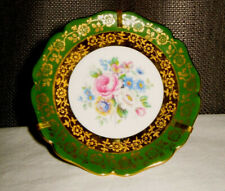Vintage French Limoges Miniature - Plate Emerald Green & Gold