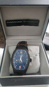 Montres De Luxe Mens GMT Estremo Black Tonneau Leather Watch NEW