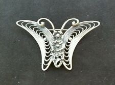 Awesome Vintage 50's Beau Sterling Silver Filigree Butterfly Brooch/Pin-Signed