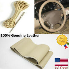 Steering Wheel Cover With Needles & Thread DIY Beige Leather Sew On 38cm