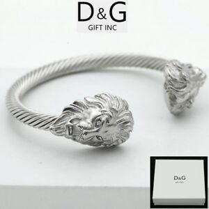 DG Men's Stainless Steel.Double,Lion Head.Adjustable Cuff Cable CZ Bracelet**Box