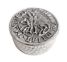 Masonic Knights Templar Seal Round Pewter Trinket Box