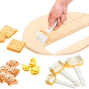 3PCS Rolling Cookie Pastry Dough Cutter Roller Slice Biscuit Cutting Blader QN
