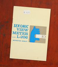 SEKONIC VIEW METER L-206 EXPOSURE METER INSTRUCTION BOOK/148104