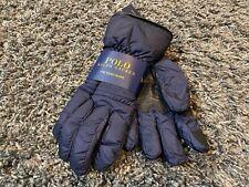 Polo Ralph Lauren touch Gloves Navy Blue pony Black leather trim 67 winter L/XL