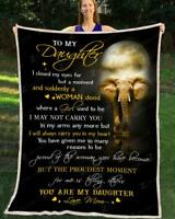 Elephant - To My Daughter - You Are My Daughter Sofa Fleece Blanket 50-80
