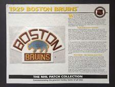 1929 BOSTON BRUINS Crest Patch Willabee & Ward Hockey NHL Collection Eddie Shore