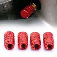 4x Red Aluminium Car Wheel Tyre Valve Stems Air Dust Cover Screw Cap Accessories