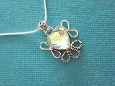 925 Silver Pendant With Heart Cut Checker Board Faceted Aqua Mystic  (nk1679)
