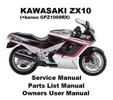 ZX10 NINJA Owners Workshop Service Repair Parts Manual PDF on CD-R GPZ 1000 RX