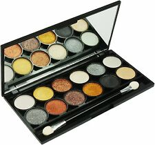 Technic Metallix Eyeshadow Palette, 12 x Eyeshadows in 1 Palette, Brown Shades