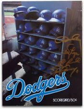 Dodger Infield Autographed Scorecard Magazine Cey Lopes Garvey Russell w/COA