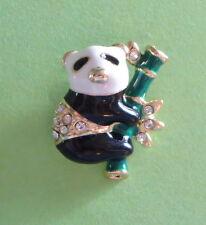 Crystal Accents Black White Green New Panda Bear Pin Bamboo Gold Tone