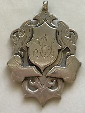 ANTIQUE 1899 STERLING SILVER METAL WATCH FOB HALLMARK SIGNED BOWLING & BATTING