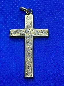 Lovely 9 Carat Gold Edwardian Cross / Crucifix Pendant 1.14 grams 1907