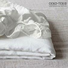 Simple&Opulence 100% Linen Fitted Sheet with 14 Inch Deep Pocket Stone Washed