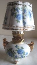 Vintage Small Hurricane Oil Lamp  Hand Painted blue Floral Motif Japan