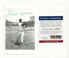 Hank Aaron Autographed Baseball Brace Postcard Photo Milwaukee Braves PSA COA