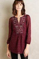 One September Anthropologie Madiran Burgundy Embroidered Peasant Top Blouse Sz S