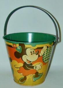 Mickey & Minnie Mouse Happynak Litho Tin Seaside Sand Pail #12 Circa 1930s UK