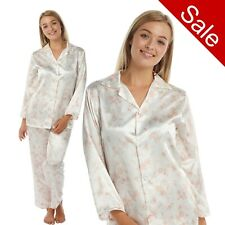 Damen Geblümt Satin Samtig Pyjama-Set PJs Pyjamas Schlafanzug Pajama lange Ärmel