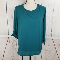Pleione Top Blouse Women's Sz S Roll Tab Long Sleeve Teal Semi Sheer Shirt