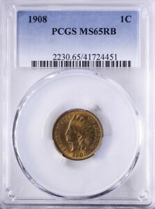 1908 Indian Head Cent PCGS MS65RB Lots of Mint Red Obverse