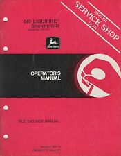 JOHN DEERE LIQUIFIRE 440 SNOWMOBILE OPERATOR'S  MANUAL OM-M69171 ISSUE F1  (998)