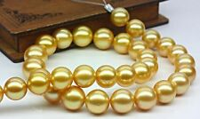 "HUGE 18""12-13MM NATURA SOUTH SEA GENUINE GOLD PEARL NECKLACE PERFECT ROUND 6048"