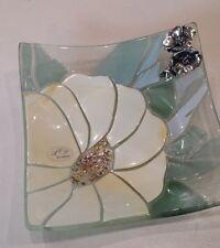 POSACENERE  cristallo e  fiore argentato