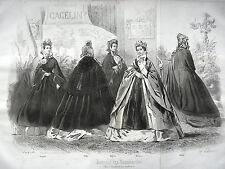 GRAVURE ANCIENNE MODE 19e - JOURNAL DES DEMOISELLES OCTOBRE 1861 - GRAND FORMAT