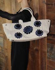 $2098~Huge~XL~PRADA~MISTOLINO~Blue Daisy Flower Canvas B1872E~Travel Beach BAG