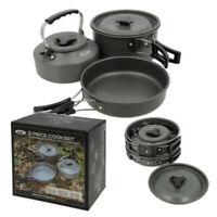 3 Piece Compact Gun Metal Aluminium Kettle Frying Pan and Pot Set