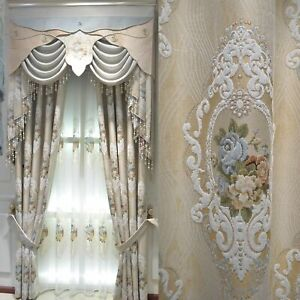 luxury European chenille jacquard beige thick cloth blackout curtain tulle B497