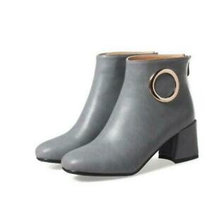 Retro Women Fashion Motorcycle Round Toe Zip Up Ankle Boots Outdoor 51 52 53 54