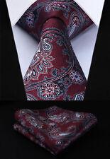 "Burgundy Blue Paisley 3.4"" Silk Woven Men Tie Necktie Handkerchief Set#TP714U8S"