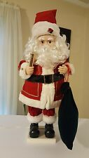 Santa Animated Holding Lighted Candle Moving His Arms & Head. Good Condition.