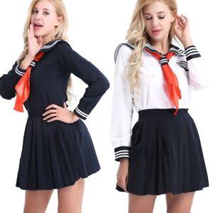 Hot Japanese School Girl Cosplay Costume Women Sailor Uniform Outfit Fancy Dress