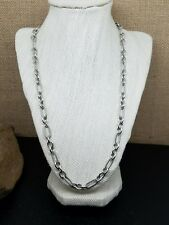 """Sterling Silver 925 Fancy Figaro Chain Toggle Clasp Necklace 22""""  46.2g"""
