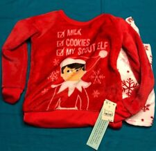 Two Piece Elf On A Shelf Red Holiday Outfit Pajama Sleepwear Top Pants Small