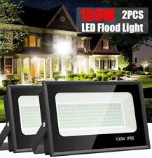 2x 100W Led Flood Light White Spotlight Garden Garage Shed Outdoor Lighting Lamp